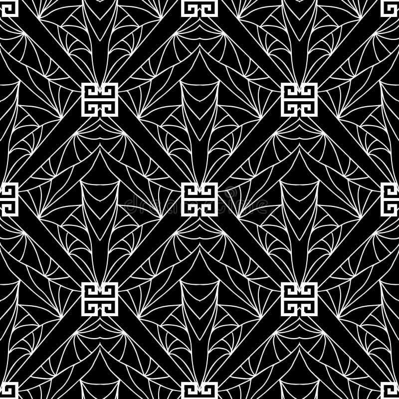 Teste padrão sem emenda do vetor preto e branco geométrico Gree abstrato ilustração do vetor