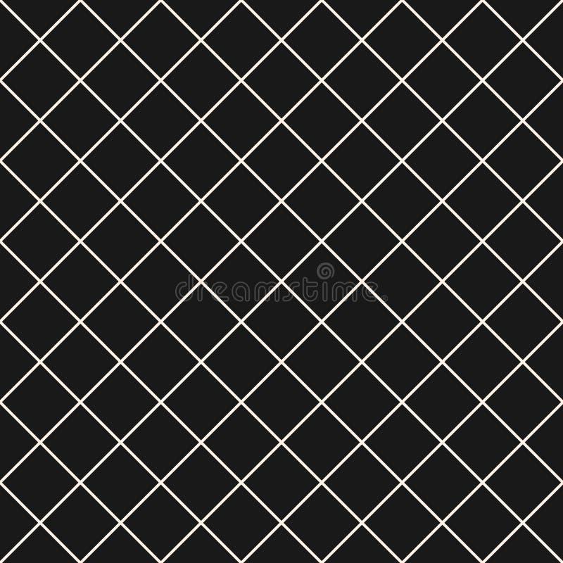 Teste padrão sem emenda do vetor quadrado da grade Fundo quadriculado escuro sutil da repetição, projeto simples ilustração stock