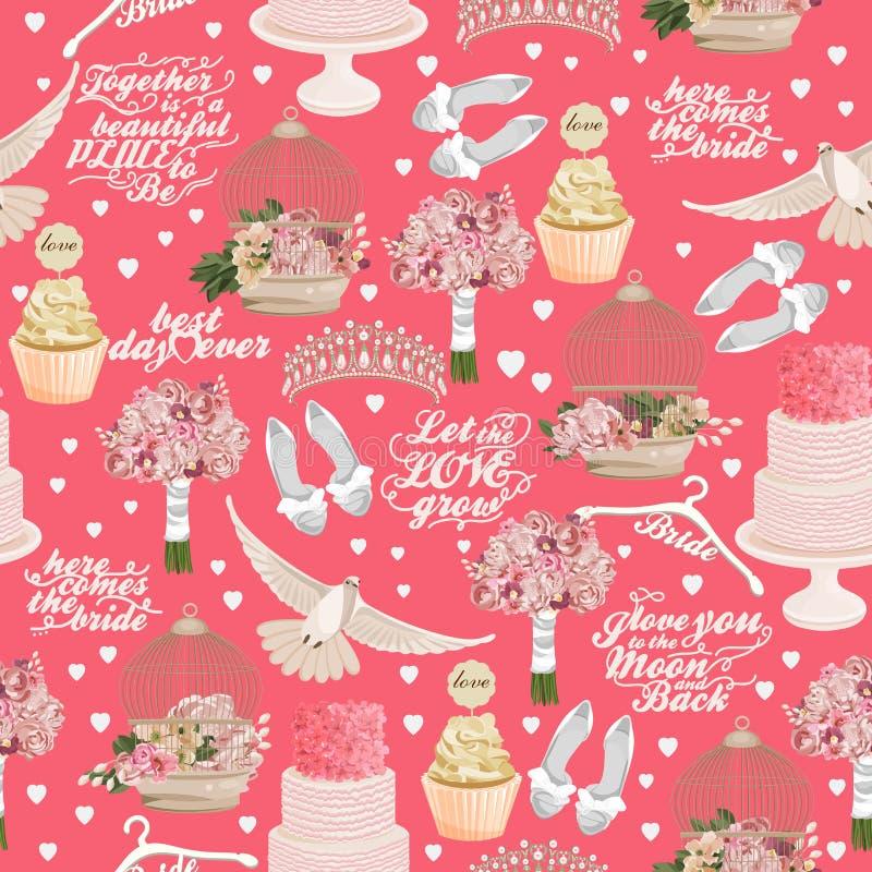 Teste padrão sem emenda do vetor retro com ícones do casamento no fundo cor-de-rosa ilustração royalty free
