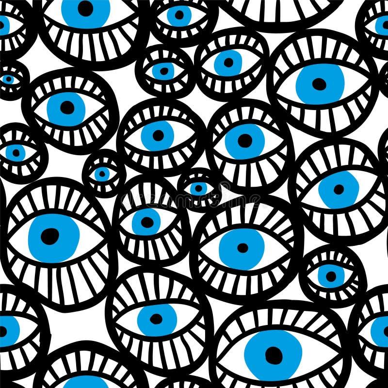 Teste padrão sem emenda do vetor do sumário com olhos azuis foto de stock