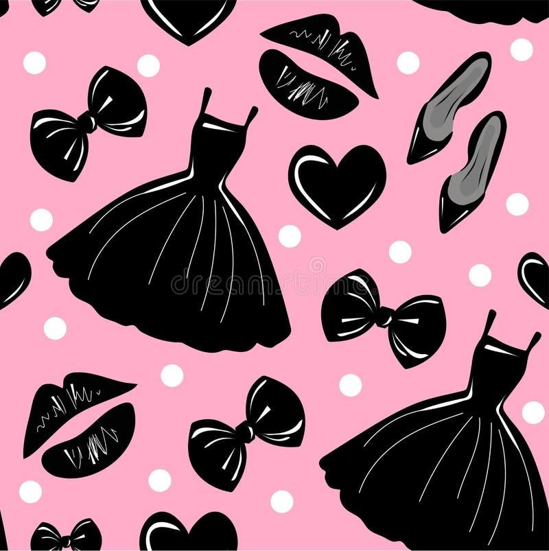 Teste padrão sem emenda do vetor, textura, cópia com meninas acessório à moda, cosmético, material da mulher no fundo cor-de-rosa ilustração royalty free