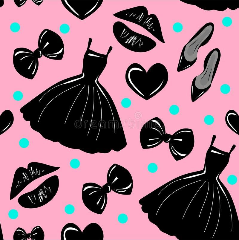 Teste padrão sem emenda do vetor, textura, cópia com meninas acessório à moda, cosmético, material da mulher no fundo cor-de-rosa ilustração do vetor