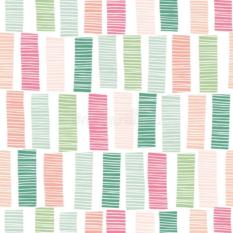 Teste padrão sem emenda do vetor Textured desenhado à mão colorido lunático do fundo das listras de vertical Cópia geométrica abs ilustração do vetor