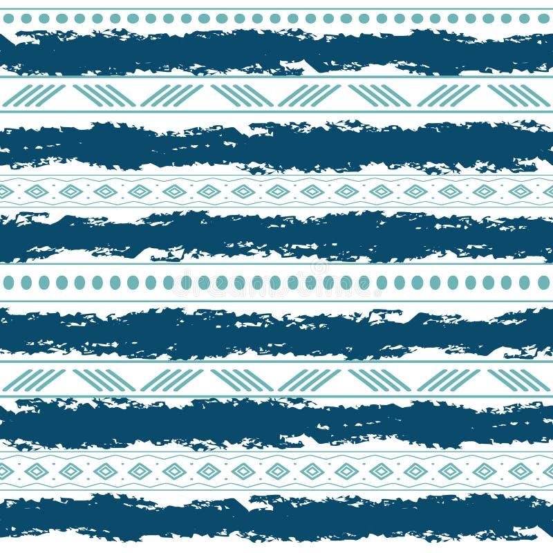 Teste padrão sem emenda do vetor tribal azul e branco com elementos da garatuja Cópia geométrica abstrata asteca da arte étnico ilustração stock