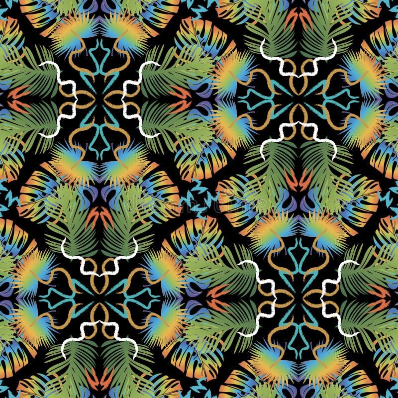 Teste padrão sem emenda do vetor tropical abstrato colorido das folhas de palmeira Fundo floral telhado decorativo Repita o conte ilustração royalty free