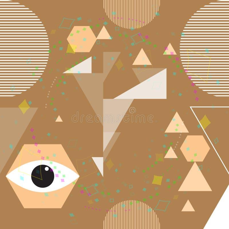 Teste padrão sem emenda do vetor urbano moderno do sumário com elementos geométricos, formas caóticas Ilustra??o do vetor ilustração stock