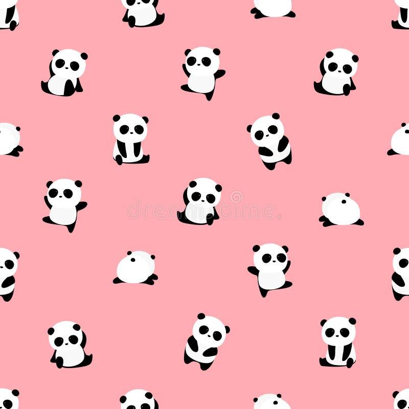 Teste padrão sem emenda do vetor: teste padrão do urso de panda na luz - fundo cor-de-rosa ilustração do vetor