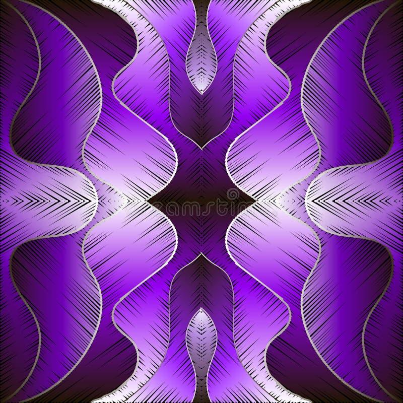 Teste padrão sem emenda do vetor violeta roxo brilhante do sumário do bordado Fundo Textured das ondas Contexto decorativo da tap ilustração royalty free