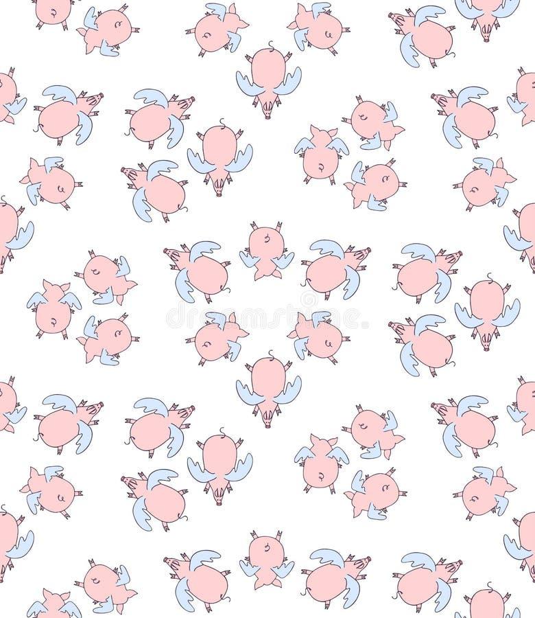 Teste padrão sem emenda do vetor do voo dos anjos dos porcos dos desenhos animados ilustração stock