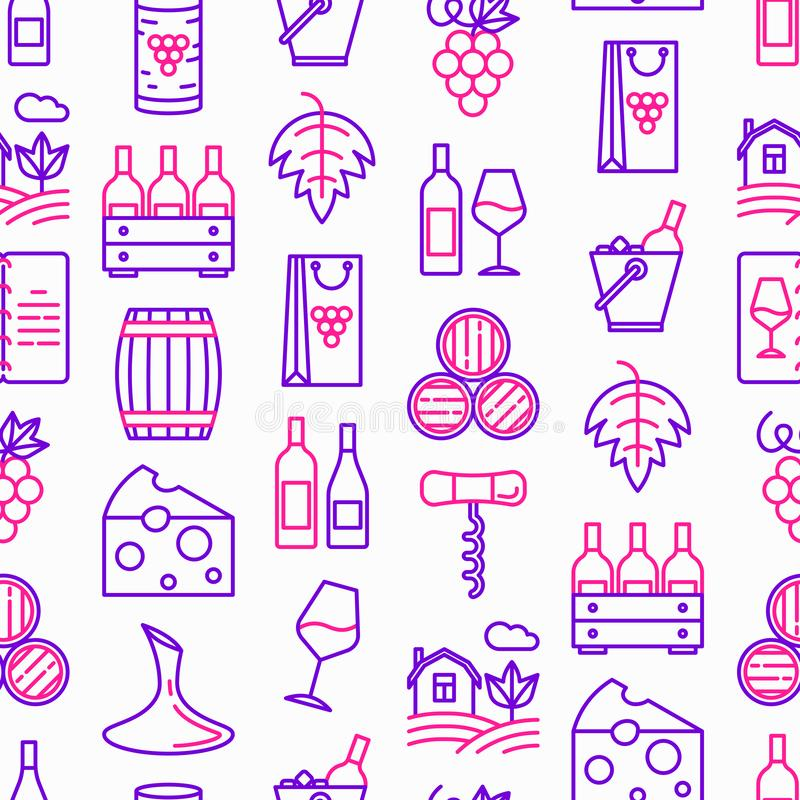 Teste padrão sem emenda do vinho com linha fina ícones: corkscrew, vidro de vinho, cortiça, uvas, tambor, lista, filtro, queijo,  ilustração stock
