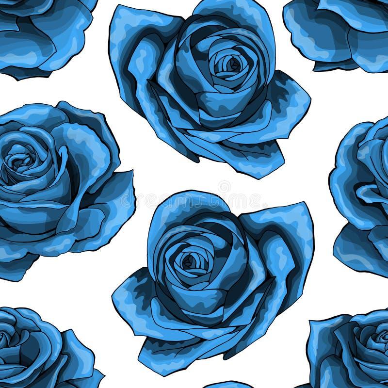 Teste padrão sem emenda do vintage azul das rosas Flores cor-de-rosa azuis isoladas no fundo ilustração do vetor
