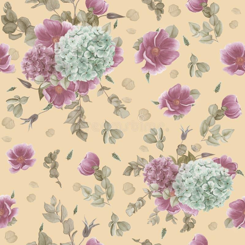 Teste padrão sem emenda do vintage com anêmonas cor-de-rosa, eucalipto e as hortênsias azuis e cor-de-rosa ilustração royalty free