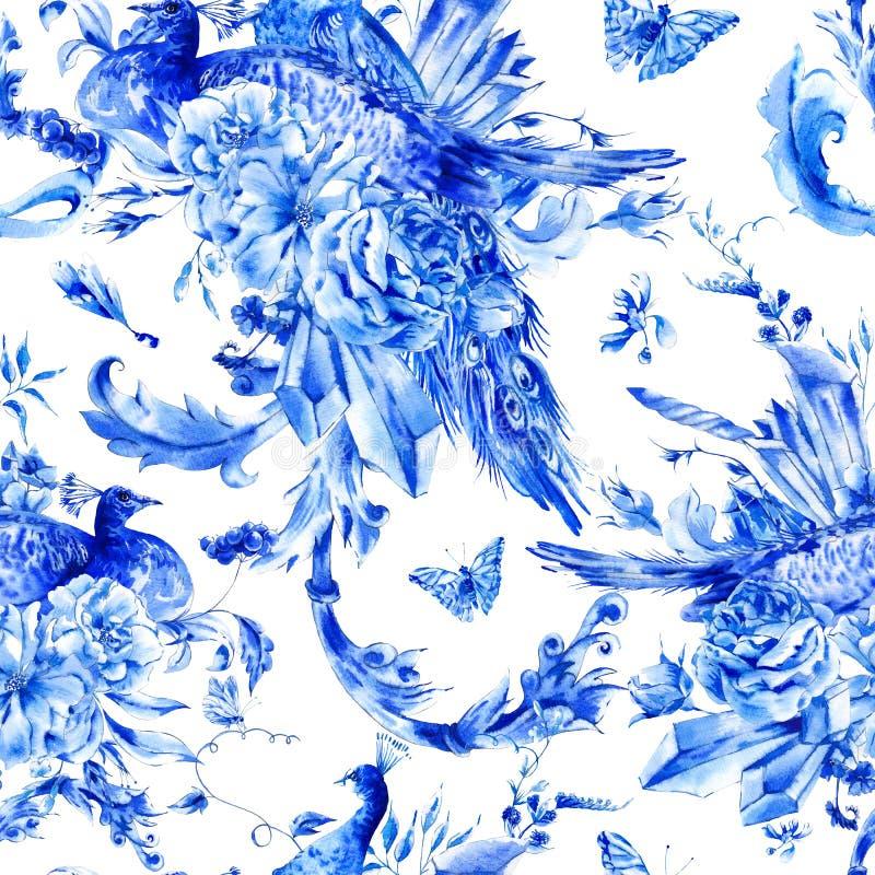 Teste padrão sem emenda do vintage com pares azuis de pavões ilustração do vetor