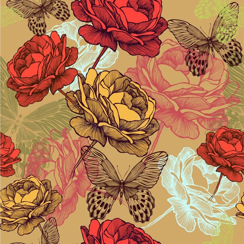 Teste padrão sem emenda do vintage com rosas de florescência e c ilustração stock
