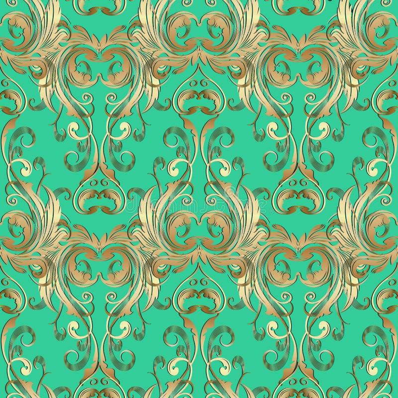 Teste padrão sem emenda do vintage 3d de Barogue Backgro verde floral do vetor ilustração royalty free