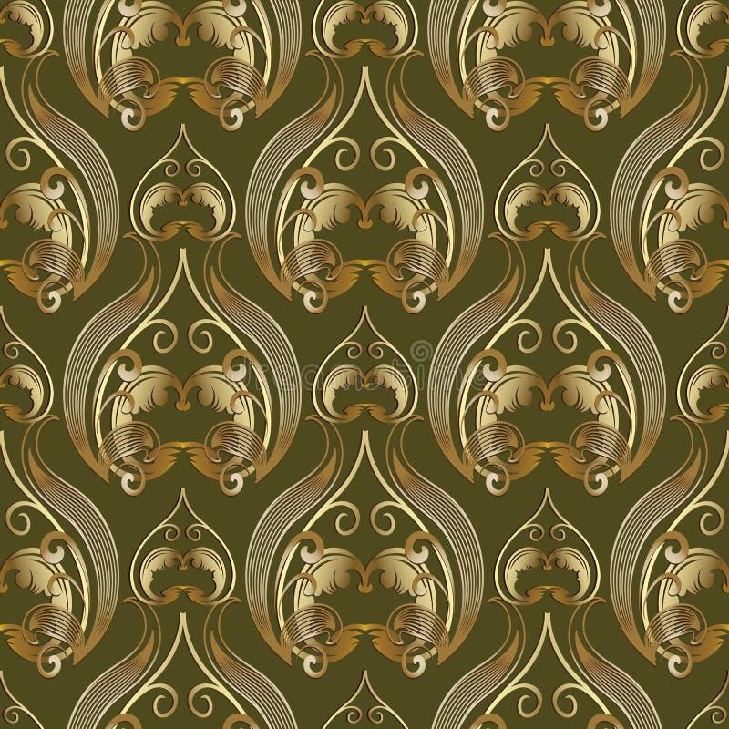 Teste padrão sem emenda do vintage 3d de Barogue Backgro verde floral do vetor ilustração stock