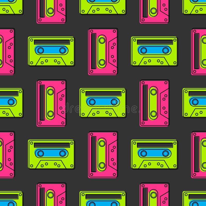 Teste padrão sem emenda do vintage da cassete de banda magnética ilustração royalty free