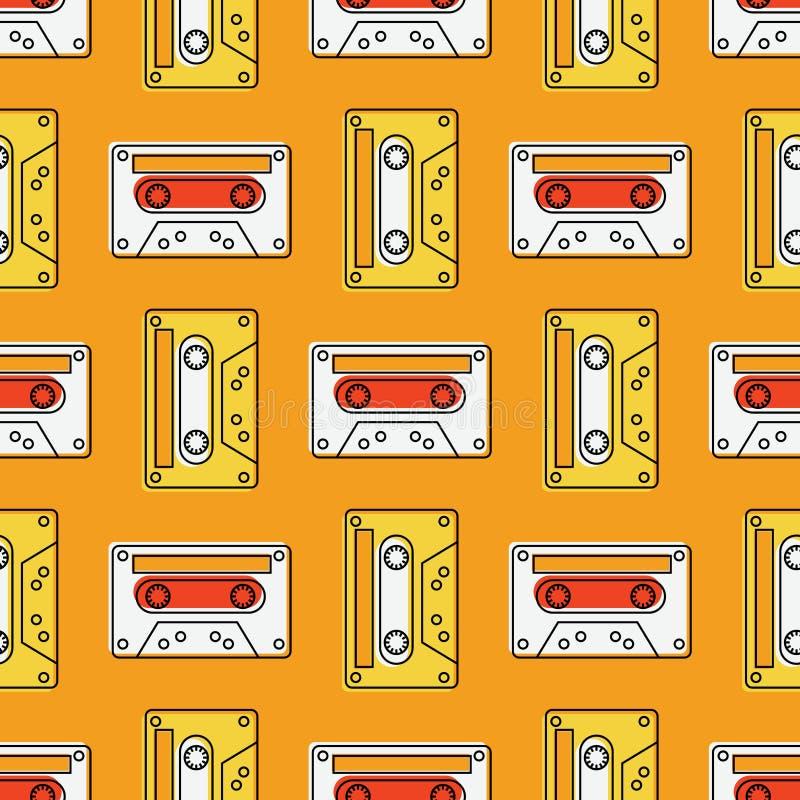Teste padrão sem emenda do vintage da cassete de banda magnética ilustração do vetor