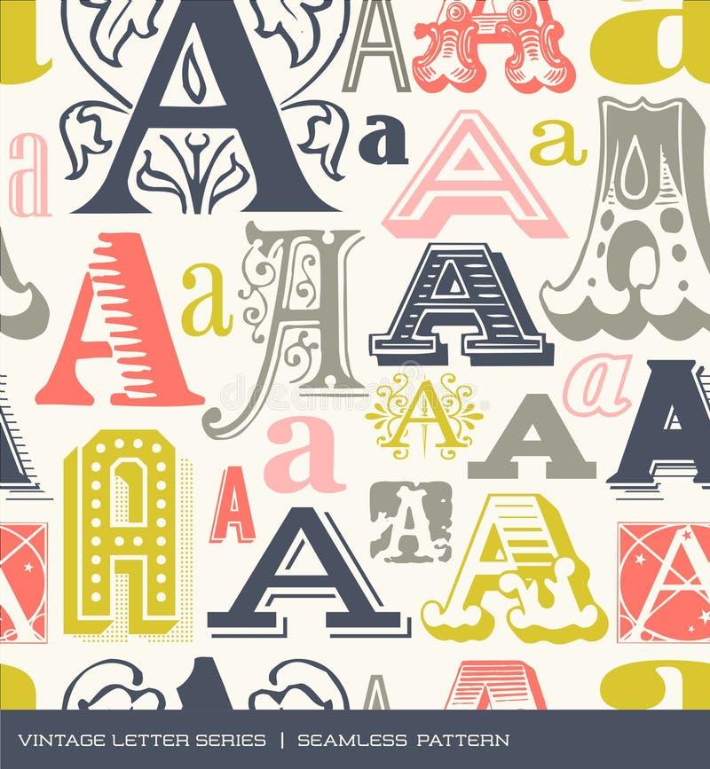 Teste padrão sem emenda do vintage da letra A em cores retros ilustração royalty free