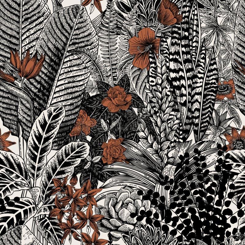 Teste padrão sem emenda do vintage do vetor Flores e plantas exóticas ilustração royalty free