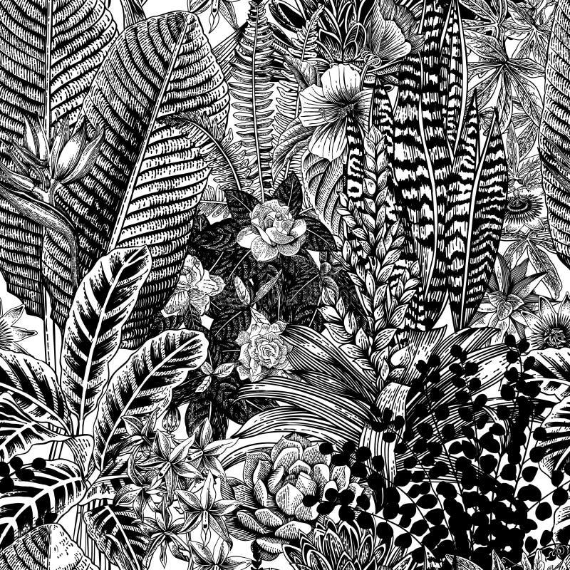 Teste padrão sem emenda do vintage do vetor Flores e plantas exóticas ilustração stock