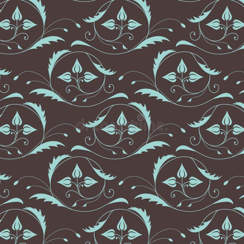 Teste padrão sem emenda do vintage em cores azul-castanhas ilustração royalty free