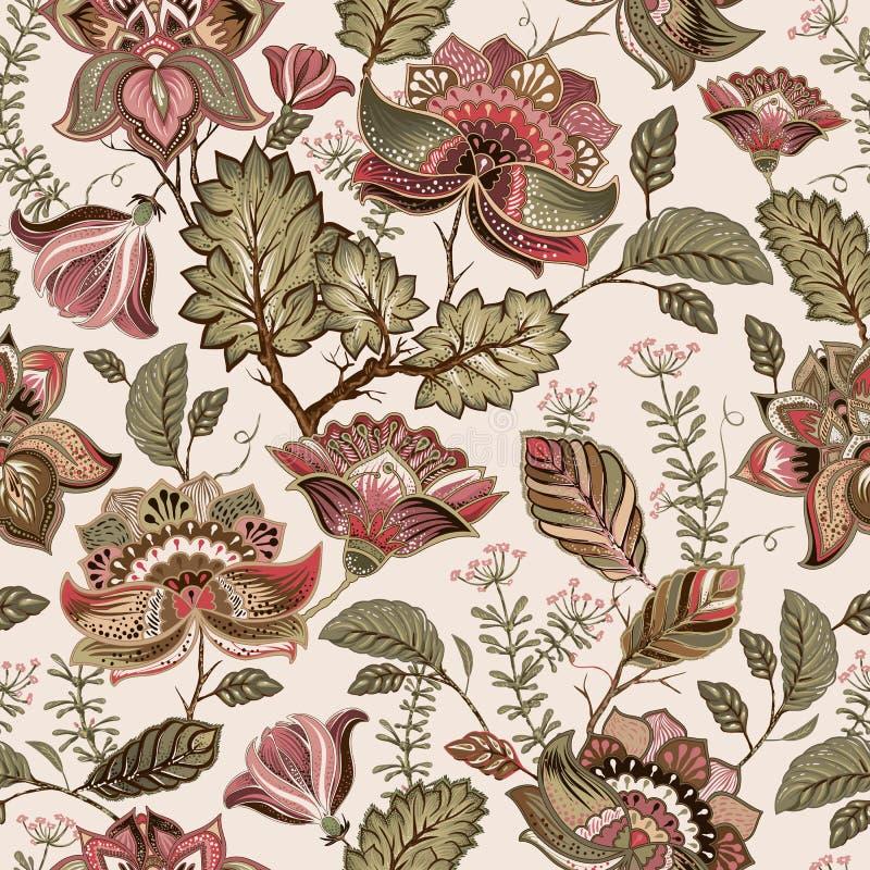Teste padrão sem emenda do vintage Floresce o fundo no estilo de provence ilustração stock