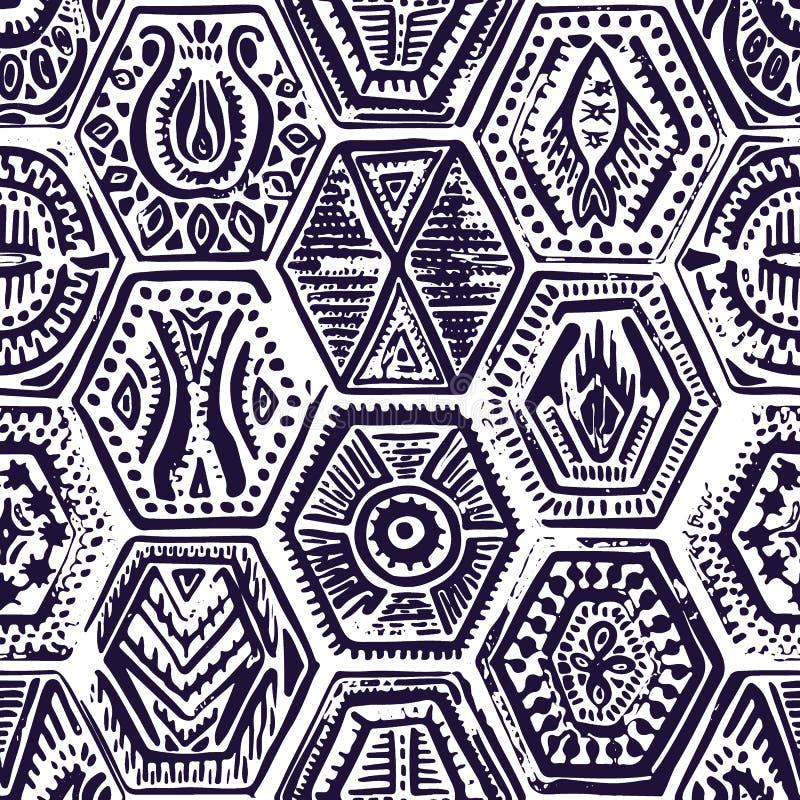 Teste padrão sem emenda do vintage no estilo dos retalhos Hexágono desenhado à mão ilustração do vetor
