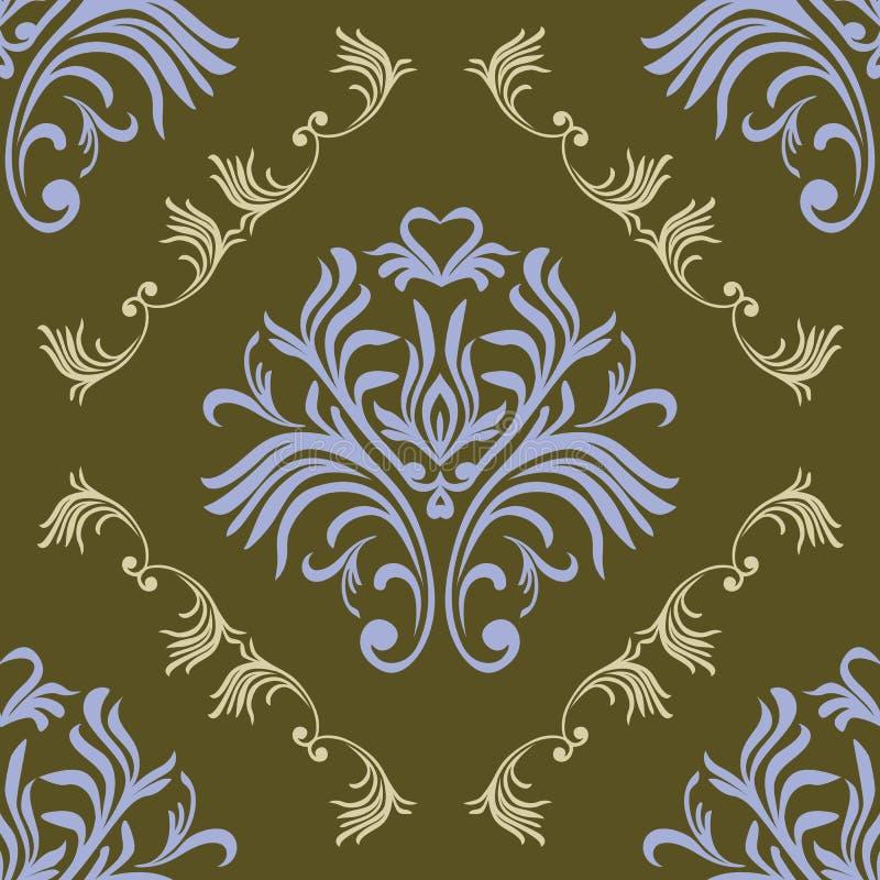 Teste padrão sem emenda do vintage Papel de parede ornamentado floral Vector o fundo do damasco com ornamento e as flores decorat ilustração do vetor