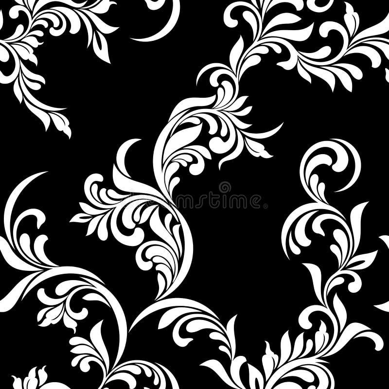 Teste padrão sem emenda do vintage Tracery vegetativo luxuoso branco das hastes e das folhas em um fundo preto ilustração do vetor