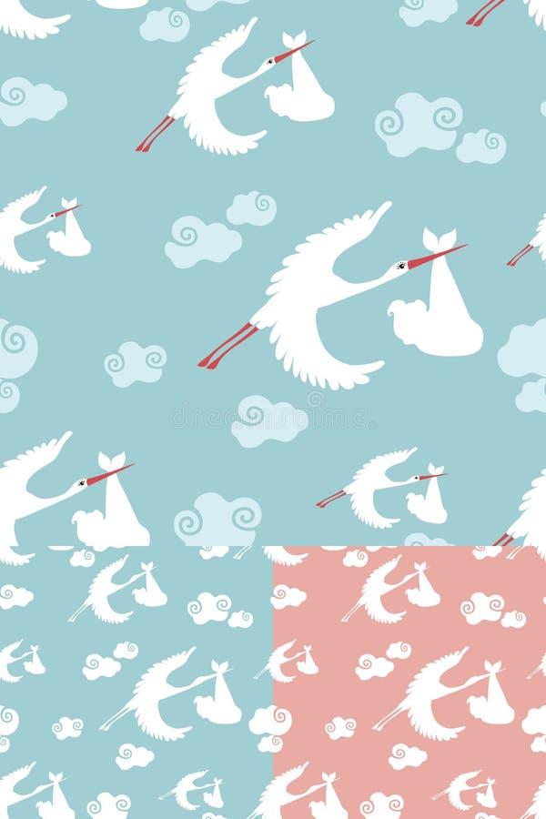 Teste padrão sem emenda do voo da cegonha com bebê recém-nascido ilustração do vetor