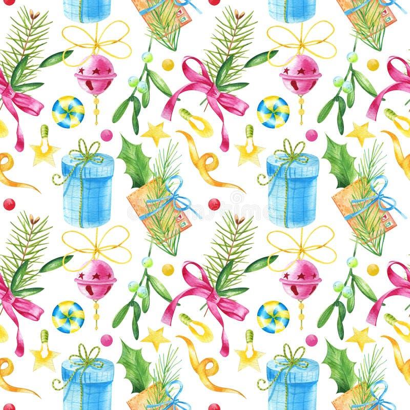 Teste padrão sem emenda do Watercolour com letra do vintage, visco, doces, folhas verdes, ramos de árvore do Natal ilustração stock