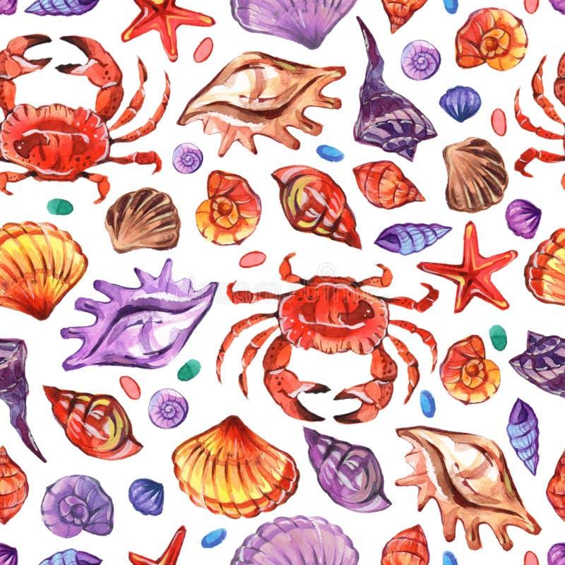 Teste padrão sem emenda do watercolour marinho no estilo realístico no fundo branco Vida subaquática marinha Ilustração ilustração do vetor