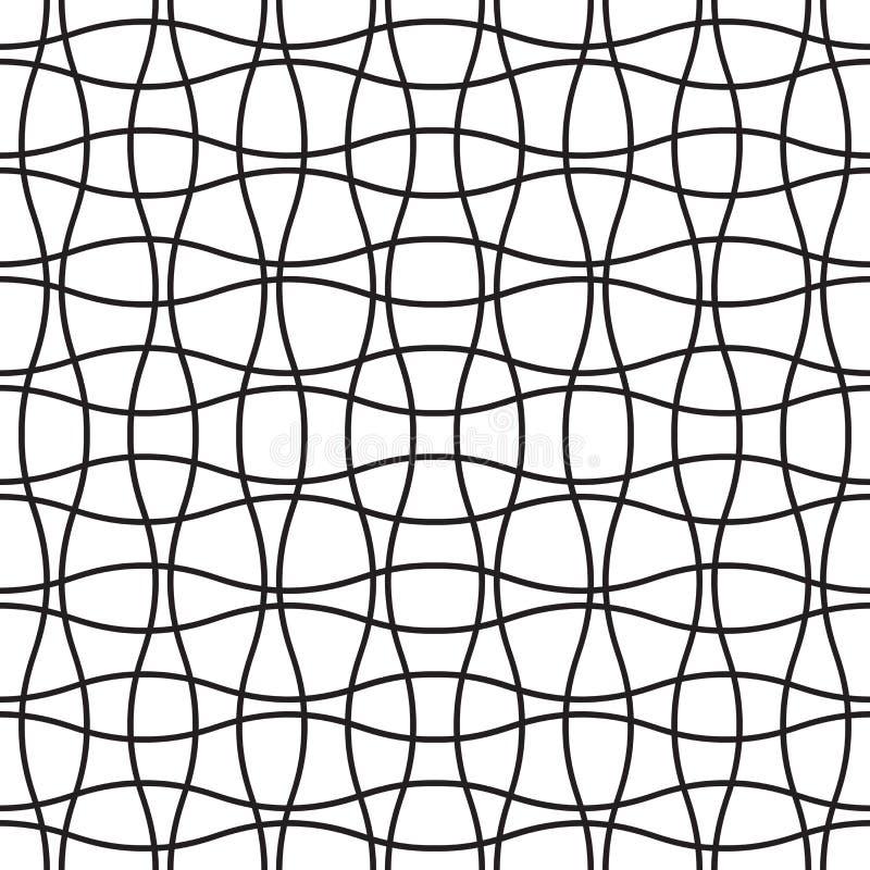 Teste padrão sem emenda do weave do cruzamento da onda Fundo geométrico abstrato da malha da grade ilustração stock