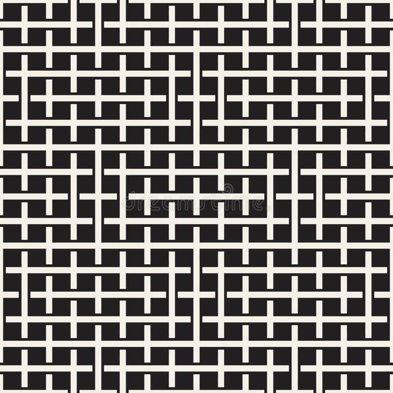 Teste padrão sem emenda do Weave Fundo da trança da estrutura de cruzamento das listras Vetor geométrico preto e branco ilustração stock