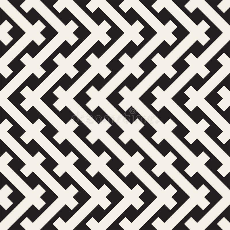 Teste padrão sem emenda do Weave Textura de repetição à moda Ilustração geométrica preto e branco do vetor ilustração royalty free
