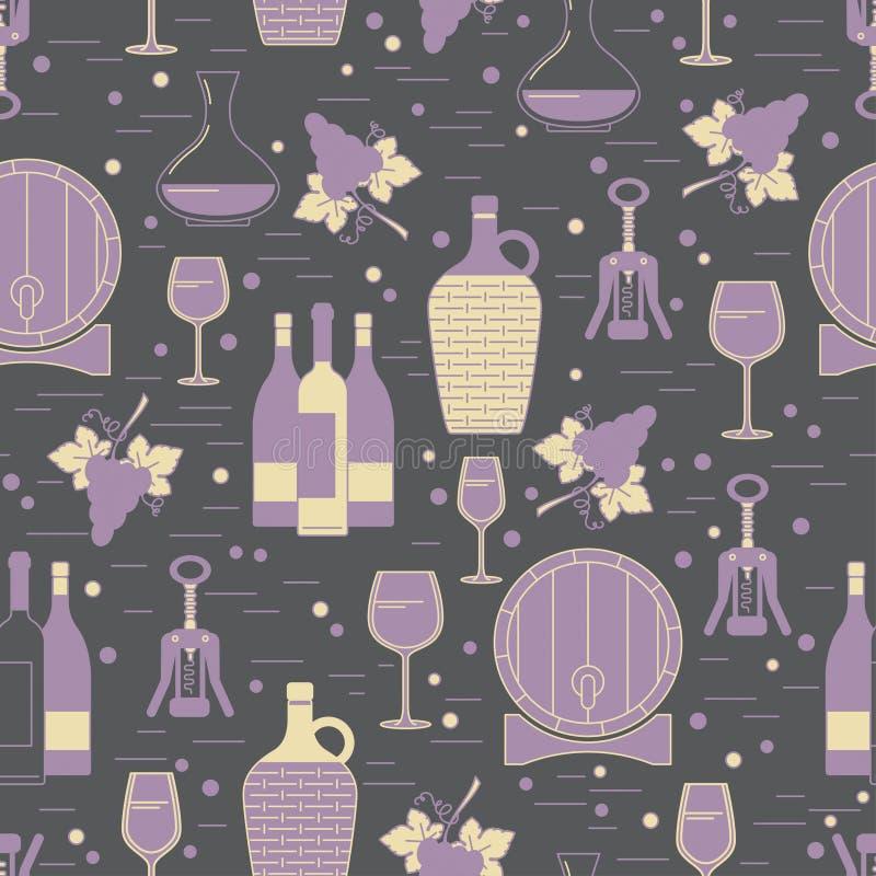 Teste padrão sem emenda do Winemaking no fundo cinzento ilustração do vetor