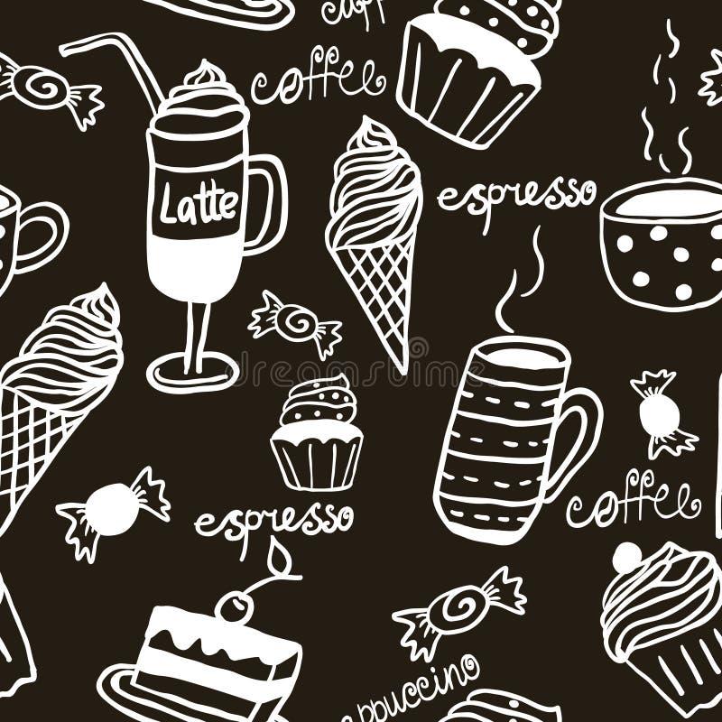 Teste padrão sem emenda doce com bebidas e doces ilustração do vetor