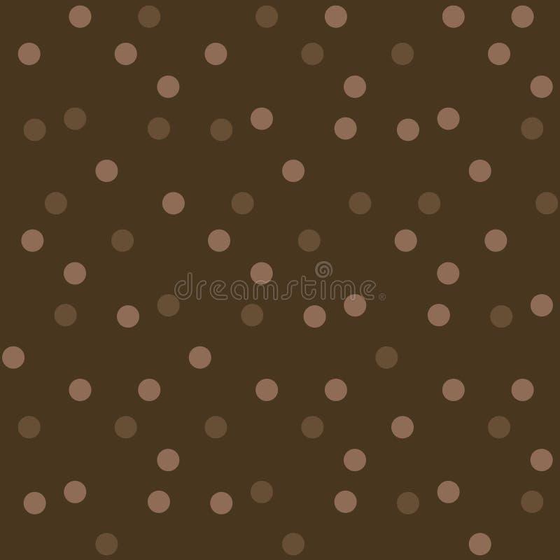 Teste padrão sem emenda dos às bolinhas escuros do fundo do chocolate ilustração do vetor