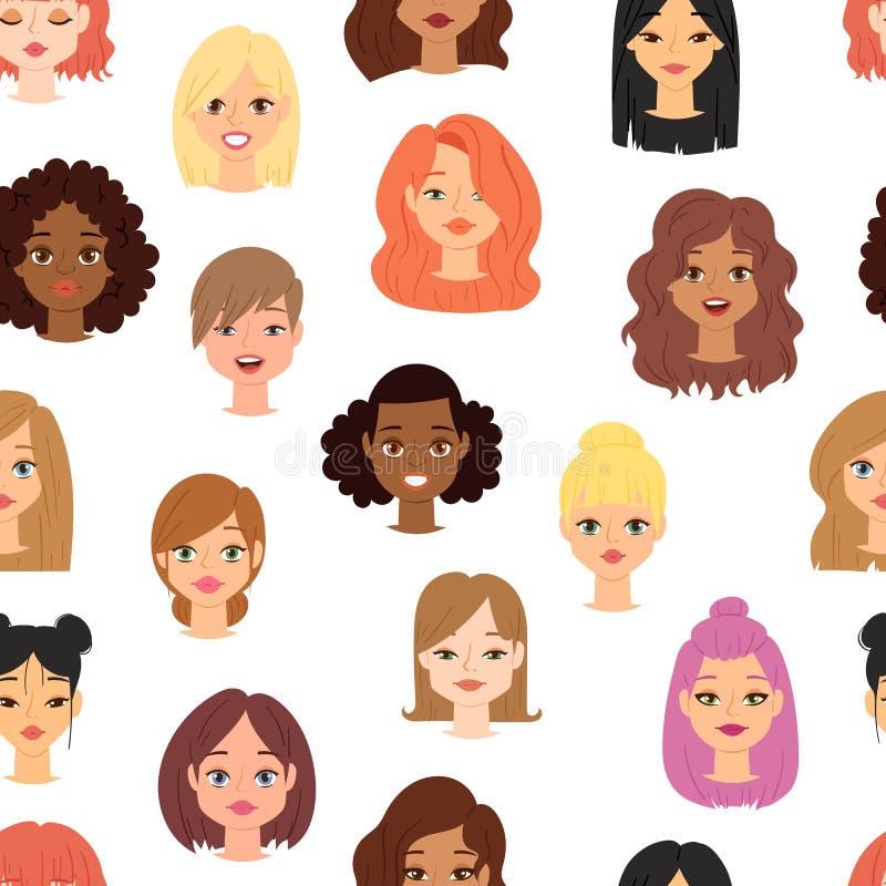 Teste padrão sem emenda dos ícones étnicos diferentes do vetor da cara da cabeça da mulher da afiliação da nacionalidade ilustração royalty free