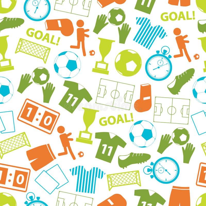 Teste padrão sem emenda dos ícones da cor do futebol do futebol ilustração stock