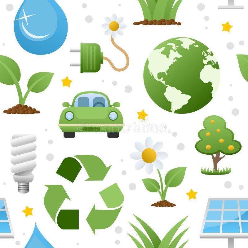 Teste padrão sem emenda dos ícones da ecologia ilustração royalty free