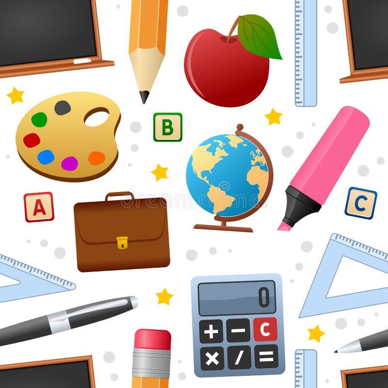 Teste padrão sem emenda dos ícones da educação ilustração stock