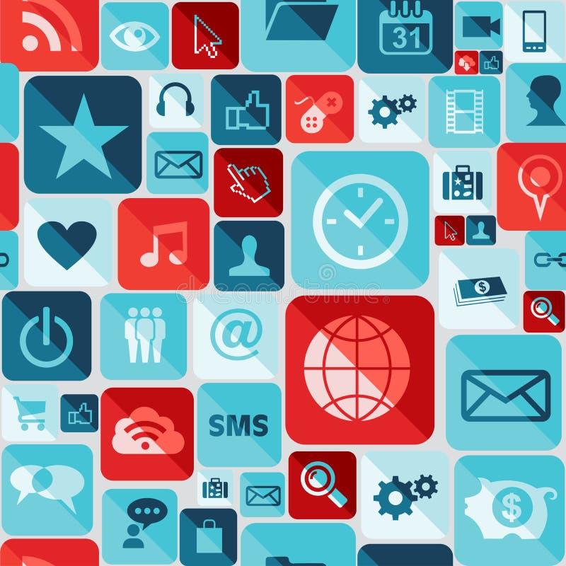 Teste padrão sem emenda dos ícones do App ilustração royalty free