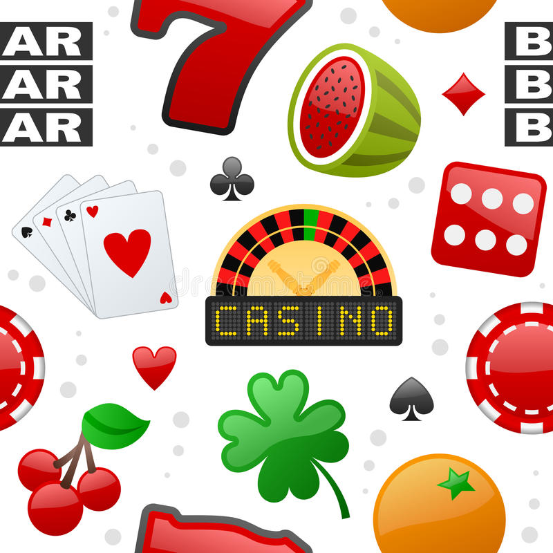 Teste padrão sem emenda dos ícones do casino ilustração royalty free