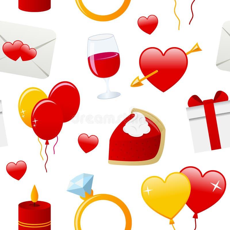 Teste padrão sem emenda dos ícones do dia do Valentim s ilustração royalty free