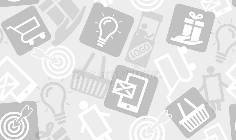 Teste padrão sem emenda dos ícones do mercado do consumidor/comércio Aperfeiçoe para o fundo da apresentação, da bandeira da Web  ilustração royalty free