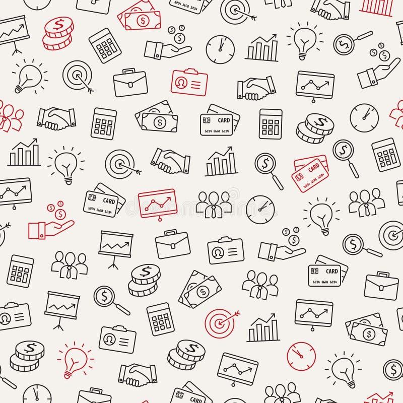 Teste padrão sem emenda dos ícones do negócio ilustração stock