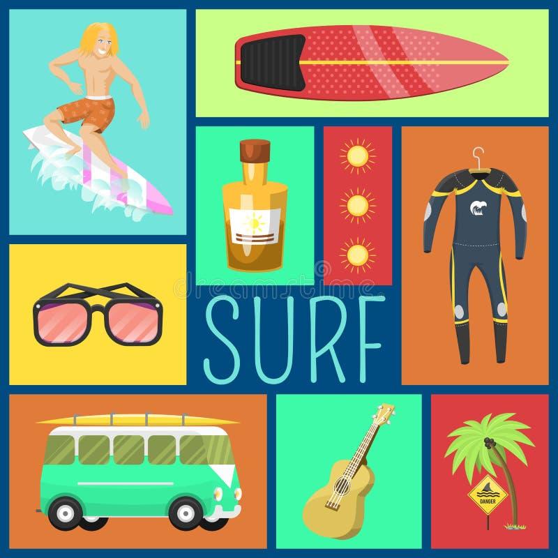 Teste padrão sem emenda dos ícones do verão Férias no beira-mar Palmas, aletas, homem surfando, terno de mergulho, óculos de sol, ilustração do vetor