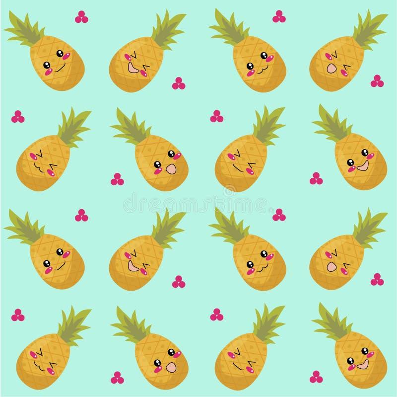 Teste padrão sem emenda dos abacaxis fotos de stock royalty free